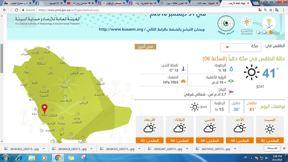 درجة الحرارة في مكة المكرمة اليوم